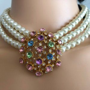 Pearl choker with crystals